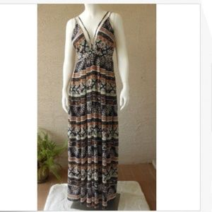 Maxi Dress Silky Flowing Boho Beachy Deep V-Front